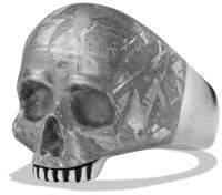 David Yurman Davidyurman Carved Skull Ring With Meteorite