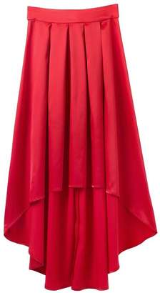 TOPJIN Women's Pleated Front Short Long Back Satin Skirts for Casual Evening Party L