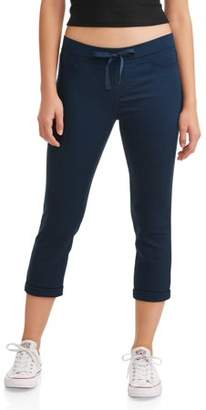 No Boundaries Juniors' Pull-On Dorm Crop Capri Pants (Denim and Color Washes)