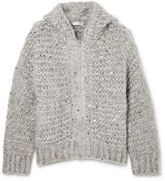 Brunello Cucinelli Hooded Sequin-embellished Mohair-blend Cardigan - Gray