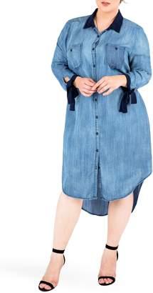 Standards & Practices High/Low Denim Shirtdress