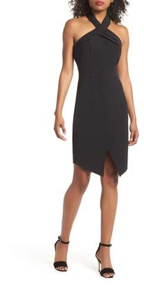 Adelyn Rae Halter Asymmetrical Sheath Dress