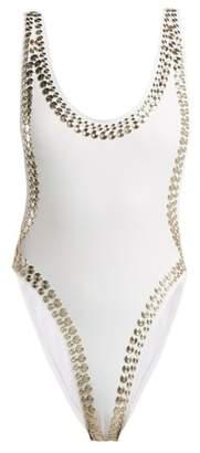 Norma Kamali Marissa Studded Swimsuit - Womens - White