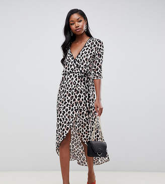 Miss Selfridge wrap midi dress in animal print