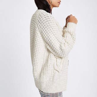 River Island Cream cable knit cardigan