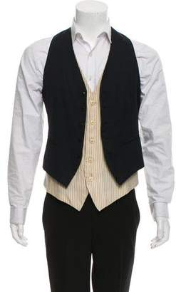 Ann Demeulemeester Dual Layer Solid and Pinstripe Vest