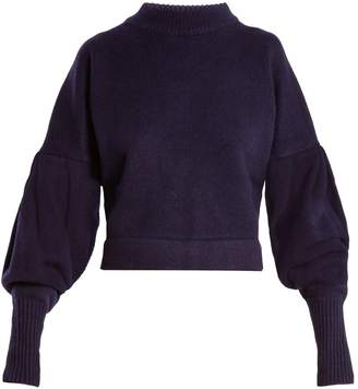 Tibi Pleated-sleeve cashmere sweater