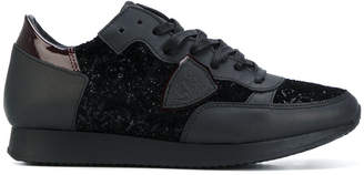 Philippe Model glittery effect lace-up sneakers