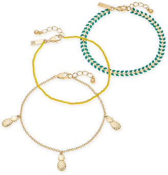 INC International Concepts I.N.C. Gold-Tone 3-Pc. Set Stone, Bead & Pineapple Ankle Bracelets, Created for Macy's