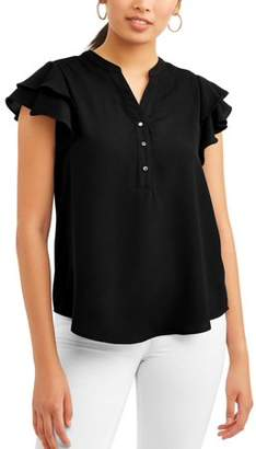 LIFESTYLE ATTITUDE Women's Ruffle Short Sleeve Blouse