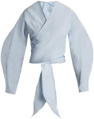 Ellery Lasso balloon-sleeve cropped wrap top