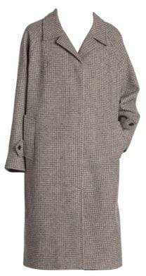 Miu Miu Long-Sleeve Wool Check Coat