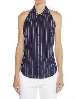 Vale Denim Mid Length Collared Button Up Halter Tie Up Top