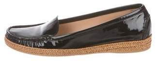 Stuart Weitzman Patent Leather Round-toe Loafers