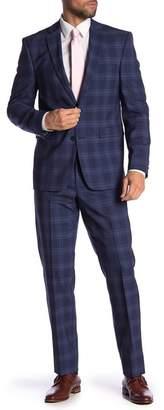 Vince Camuto Wool Plaid Print Slim Fit 2-Piece Suit