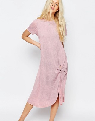 ASOS Casual Knot Front Midi T-shirt Dress $46 thestylecure.com