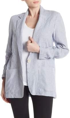 Max Studio Linen Blend Stripe Blazer