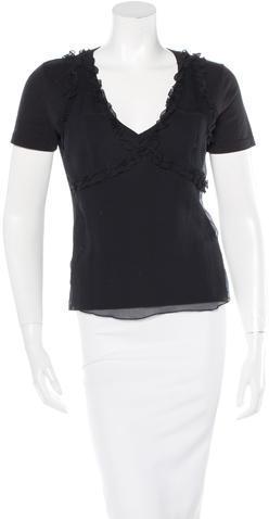 Miu MiuMiu Miu Silk-Accented Short Sleecve T-Shirt