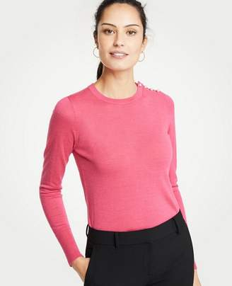 Ann Taylor Petite Pearlized Shoulder Crew Neck Pullover