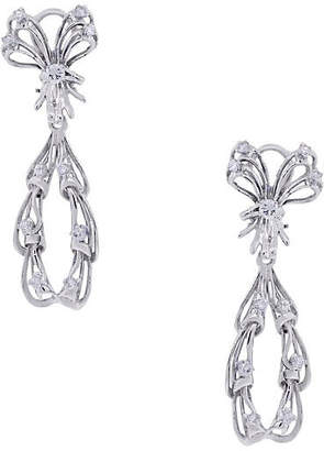 One Kings Lane Vintage White Gold Diamond Drop Dangle Earrings