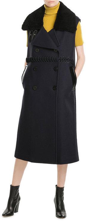 3.1 Phillip Lim3.1 Phillip Lim Sleeveless Wool Coat with Shearling Collar