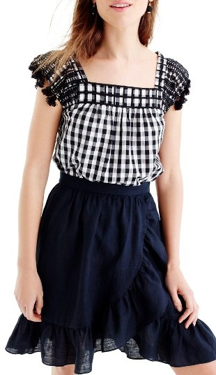 Women's J.crew Embroidered Gingham Top