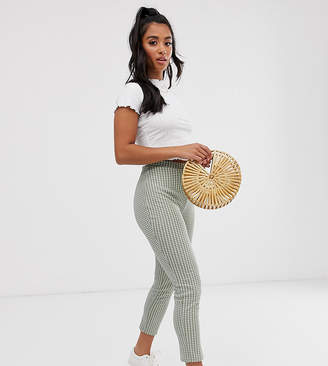 Asos DESIGN Petite gingham jacquard skinny pants