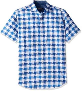 Bugatchi Men's Short Sleeve Fitted Tetris Motif Spread Collar Shirt