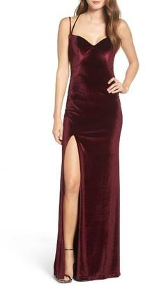 Women's La Femme Backless Velvet Gown $408 thestylecure.com
