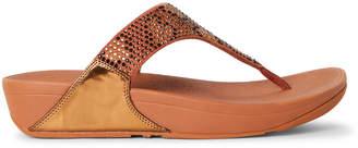 FitFlop Bronze Lulu Leopard Crystal Flip Flops