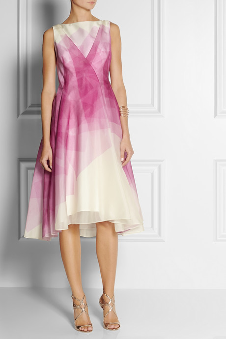 Lela Rose Printed silk-organza dress