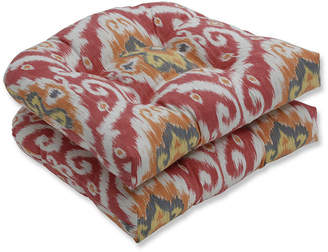 PILLOW PERFECT Pillow Perfect Set of 2 Ubud Coral Wicker Patio Seat Cushion