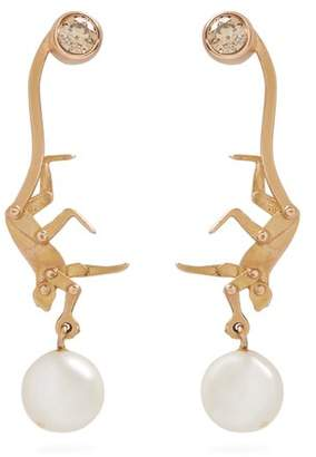 Marc Alary Diamond, Pearl & Pink Gold Earrings - Womens - Gold