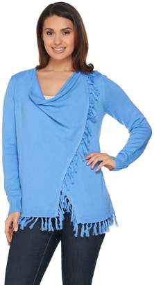 C. Wonder Drape Front Fringe Hem Cardigan with Button Closure