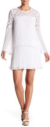 BCBGMAXAZRIA Bell Sleeve Pleated Lace Dress