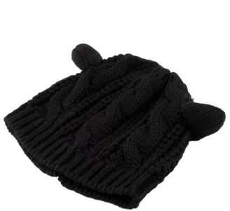 LESHP Women Devil horns Cat Ear Crochet Braided Knit Ski Beanie Wool Hat Cap On Sale