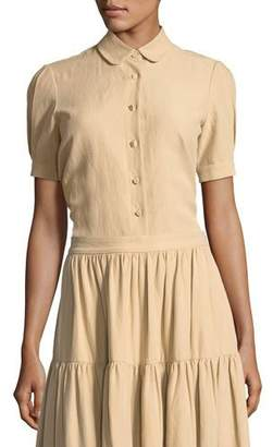 Co Short-Sleeve Button-Front Cotton-Linen Top