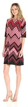 Sandra Darren Women's All Over Printed Chevron Jersey Shift Dress