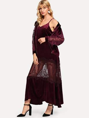 Shein Contrast Lace Sleeve Jacket