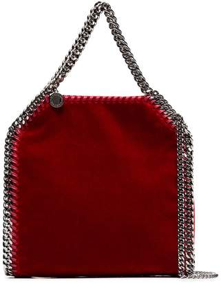 Stella McCartney red falabella mini velvet shoulder bag