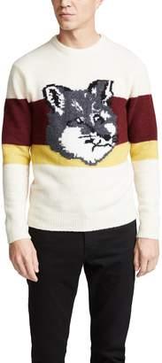 MAISON KITSUNÉ Colorblock Fox Head Pullover