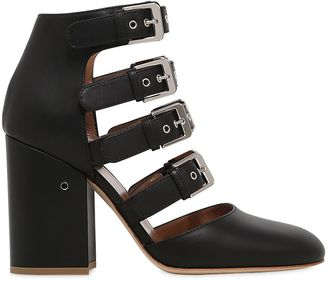 90mm Maja Buckles Leather Ankle Boots $970 thestylecure.com