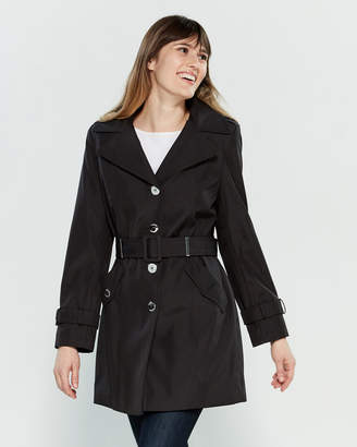 84053299c18a Calvin Klein Petite Hooded Belted Trench Coat