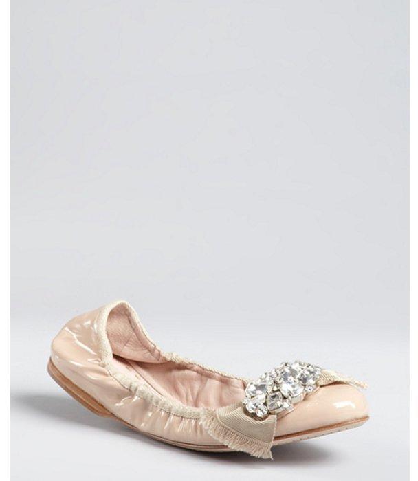 Miu Miu Miu powder pink patent leather jewel embellished bow flats