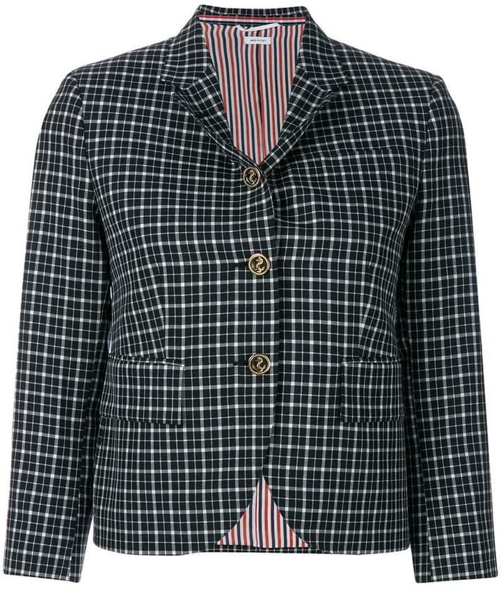 Classic Single Breasted Sport Coat In Windowpane Tartan School Uniform