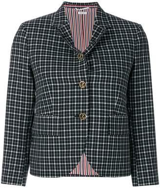 Thom Browne Classic Single Breasted Sport Coat In Windowpane Tartan School Uniform