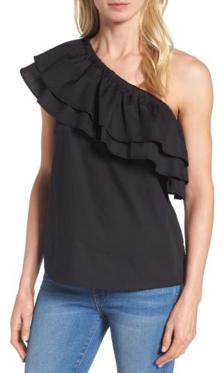 Petite Women's Halogen One-Shoulder Cotton Poplin Top