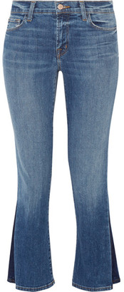J Brand - Selena Cropped Mid-rise Bootcut Jeans - Mid denim $250 thestylecure.com