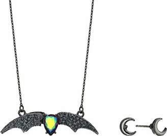 Betsey Johnson GBG) Betsey's Dark Magic Bat Pendant Necklace and Moon Stud Earrings Set
