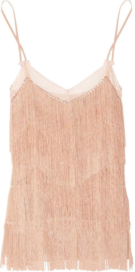 Jenny Packham Swarovski crystal-embellished fringed silk chemise